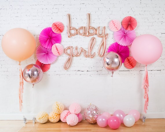 Baby Girl Balloons Baby Shower Rose Gold Cursive Script Etsy