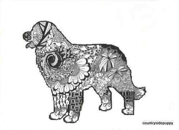 Bernese Mountain Dog Instant Download Adult Coloring Digital Print Abstract Art Zentangle Inspired
