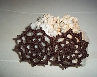 crocheted earrings Brown