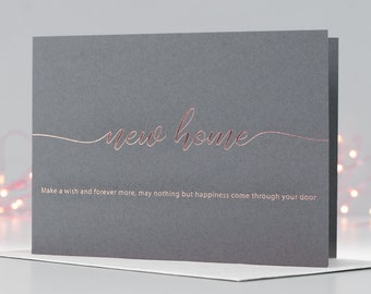 New Home Card, Housewarming Card, Rose Gold Foil Card, New House Card, Make A Wish Card, Letterpress Card, Greeting, Poem Card, Moving Card