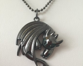 How to train your dragon etsy how to train your dragon 2 toothless night fury pendant necklace ccuart Image collections