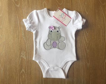 Baby Girl  Personalized Onesie, Bib, Shirt and burp cloth with Baby Hippo - Appliqued Baby Hippo