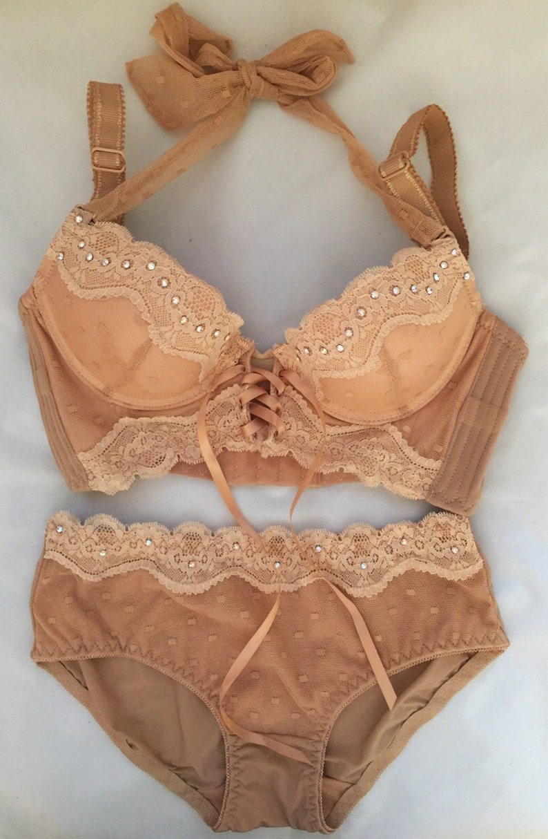a0892e897a27f Beige Brown with Cream Lace Swarovski Crystal Bra and Panty