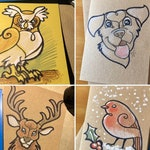 Doodle Card; Hand-drawn A6 greetings card on recycled cardboard. Random animal or custom option available!