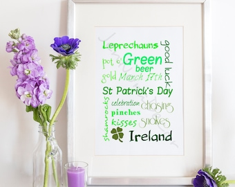 St. Patrick's Day Print, St Patricks Day Collage, St Patricks Decor, St. Patricks Print, St Patricks Day Wall Art, St Patricks Wall Decor