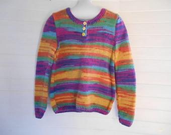 Multicolor angora blend sweater.