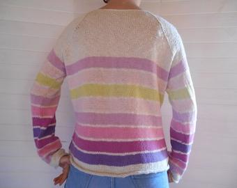 Striped cotton, Tunisian neck jumper.