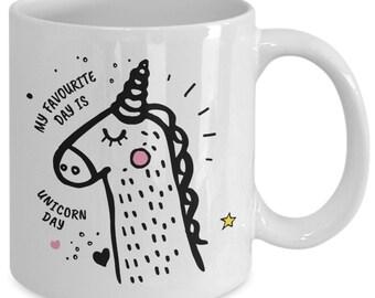 My favorite day is unicorn day - novelty white ceramic 11 ounce coffee mug tea mug