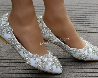 75464a274a4 Handmade Crystal Wedding Shoes White Wedding Flats Shoes Pearl Wedding Shoe  Lace Bridal Shoes for Bridal Bridesmaid Bridal Shoes Women Pumps