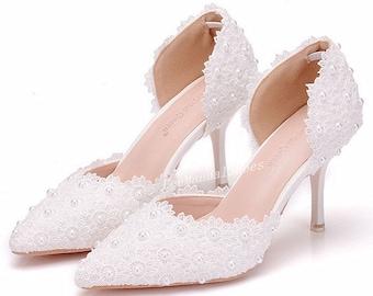 948531d03b7 Lady Lace Flower Wedding Shoes Low Heel Wedding Shoes Pearl Wedding Shoes  Lace Shoes for Bridal Bridesmaid  Bridal Shoes Women Dancing shoes