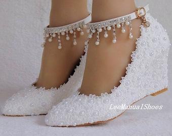 23c9fe4d844 Handmade Lace Wedding Shoes White Wedding Wedges Pearl Wedding Shoes Lace  Bridal Shoes for Bridal Bridesmaid Bridal Shoes Lace Covered Heels