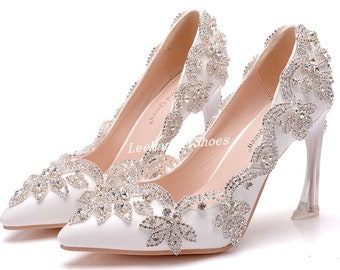 78b8f0feade Handmade Crystal Wedding Shoes White Wedding Shoes Pearl Wedding Shoe  Bridal Shoes for Bridal Bridesmaid Bridal Shoes Diamond Wedding heels
