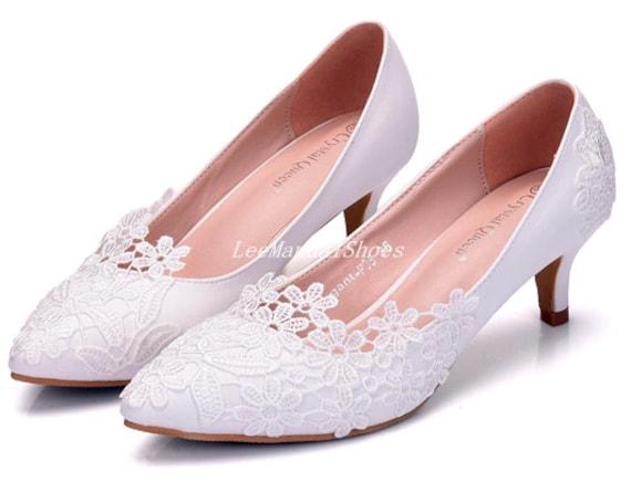Women Lace Flower Wedding Shoes Wedding Low Heel Shoes Pearl Wedding Shoes Lace Bridal Shoes for BridalBridesmaid Bridal Shoes White Shoes