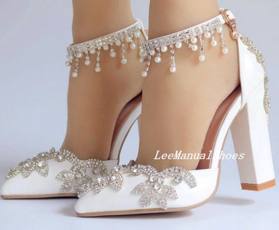 Handmade Crystal Wedding Shoes White
