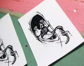LISP Sticker - Black & White, Hand-drawing, Darkness, Horror, Head, Tongue, Monster, Ghost, Scary, Bloody, Vinyl sticker