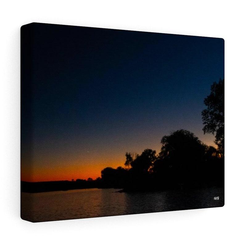Kansas Sunset Over Lake Canvas Wall Art image 0