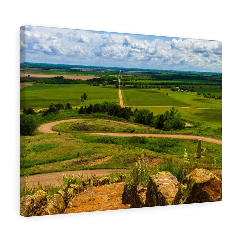 Winding Kansas Road And Countryside Canvas Art Print image 0