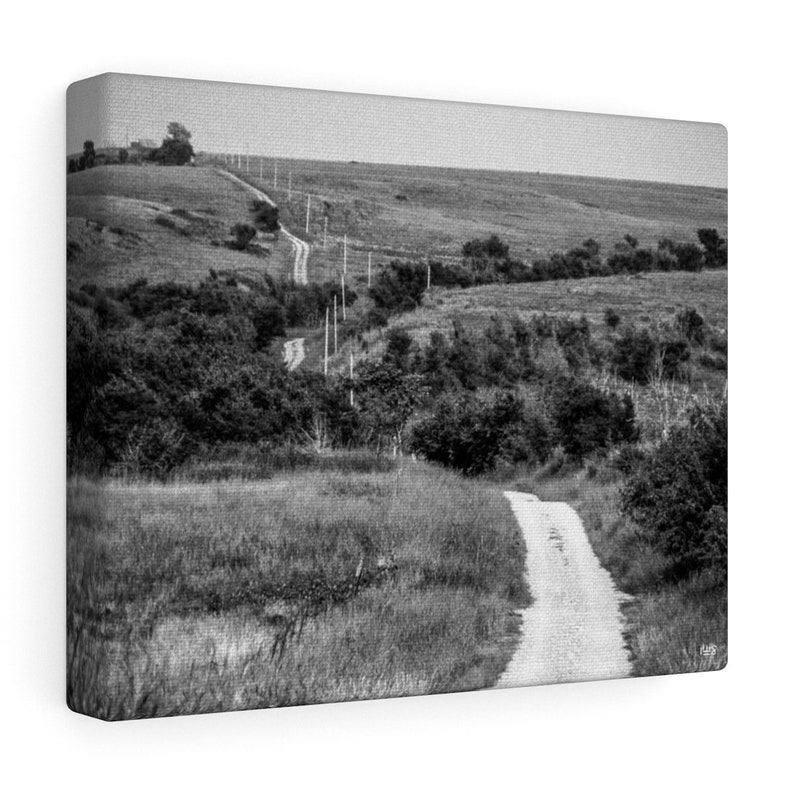 Meandering Rock Road In Rural Kansas Canvas Wall Art image 0