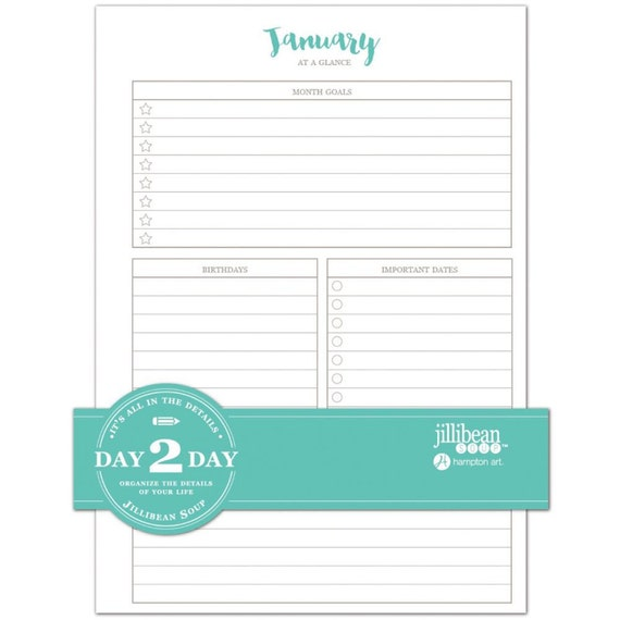 jillibean soup day 2 day collection daily planner pages insert etsy