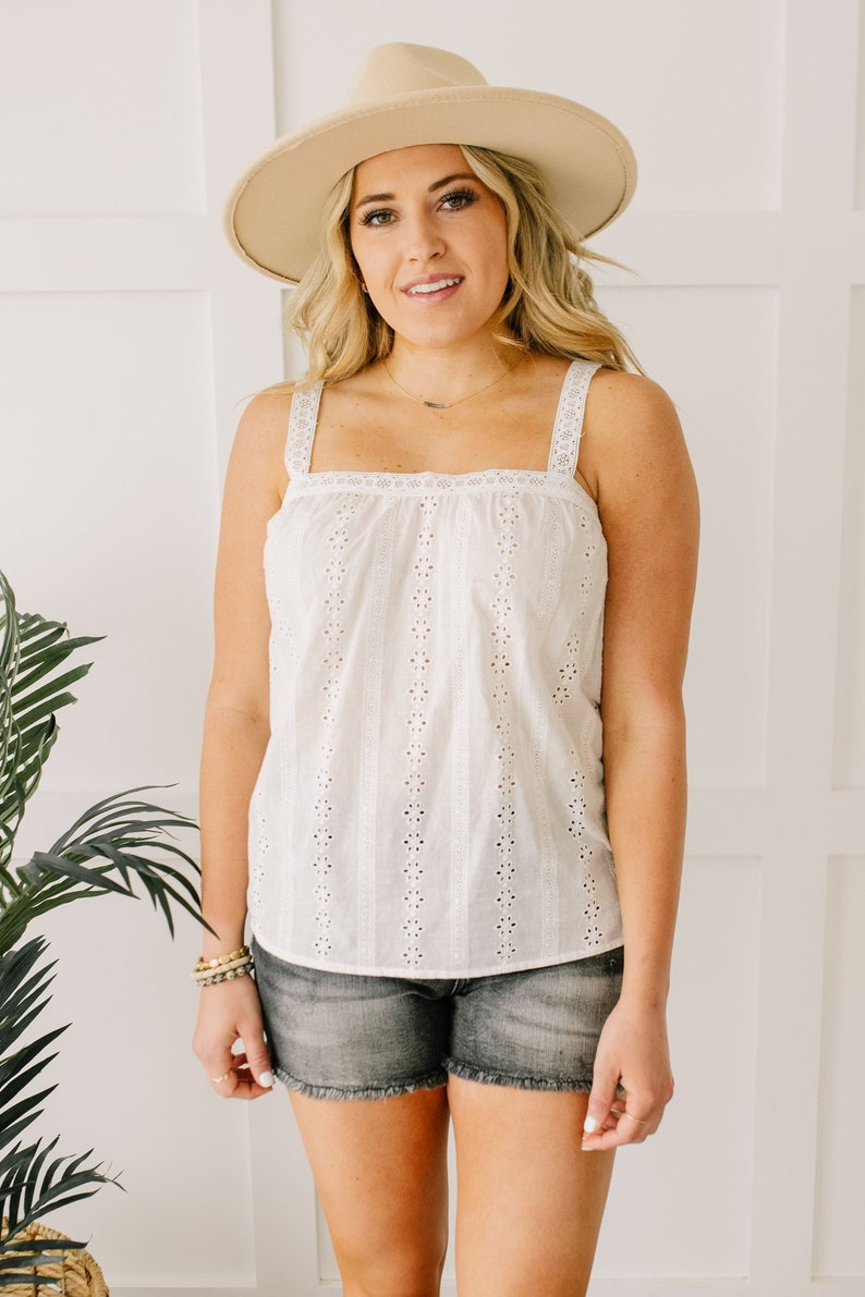 Vintage Lingerie | New Underwear, Bras, Slips Eyelet You Know Camisole In Off-White Boho Bohemian Womens Lightweight Eyelet Cotton Cottagecore Spring Summer Tank Top XS-3XL Plus Size $36.00 AT vintagedancer.com