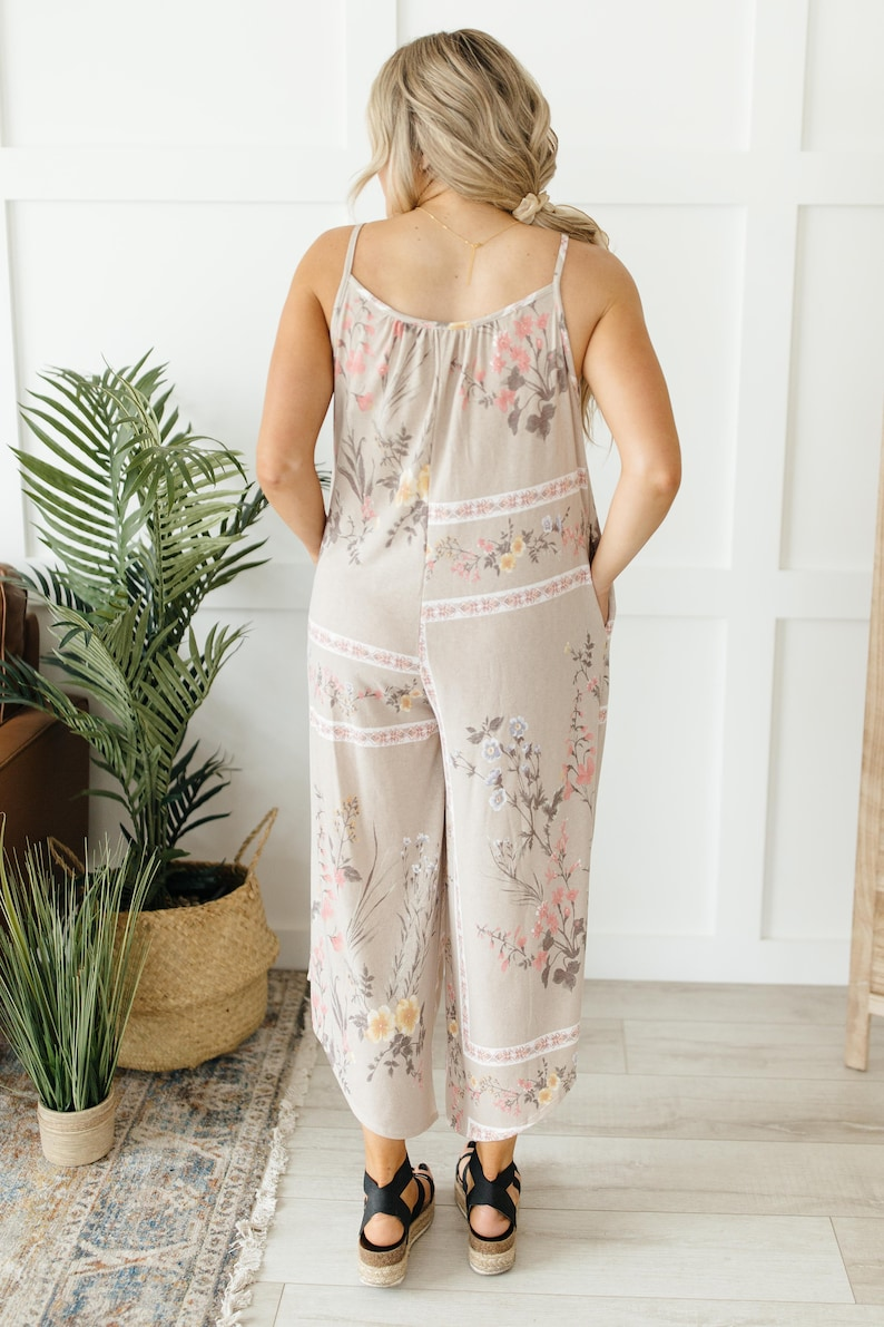 Cute soft jumpsuit XS-3XL Boho Taupe Floral Jumpsuit retro spring sleeveless soft vintage style wideleg playsuit floral print overalls