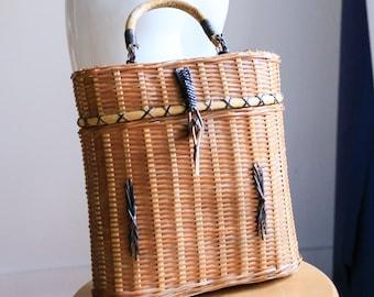 Straw Bag | Straw Purse | Beach | Summer| Basket | Box | Tiki | Hawaiian | Vacation Accessories |Structured | 1950s | 1960s | Birkin Basket
