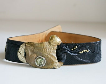 Vintage Wide BRUTALIST Metal Cinch Belt  Brass Copper Silver TRIPLE LEAF  medium waist 30 .5 To 34  Inches  1980s Power Look