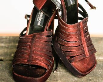 90s Chunky Heels | 90s Platform Shoes | Ankle Strap Heel | 90s Sandals | Grunge Shoes | Fabric Shoes | Platform Sandals | 90s club shoes