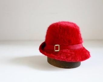 c652838b8b742b Raspberry Red Angora Wool Fuzzy 80s Kangol Fedora Hat Made in England