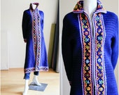 Vintage Long Sweater Coat Blue Floral Chunky Knit Sweater Coat A line Cobalt Blue chunky Knit Sweater Vintage Hand knit Sweater Coat