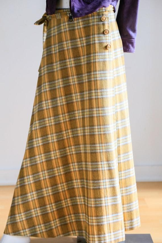 Plaid Wool A-line Maxi Wrap Skir   Plaid Boho Max… - image 5