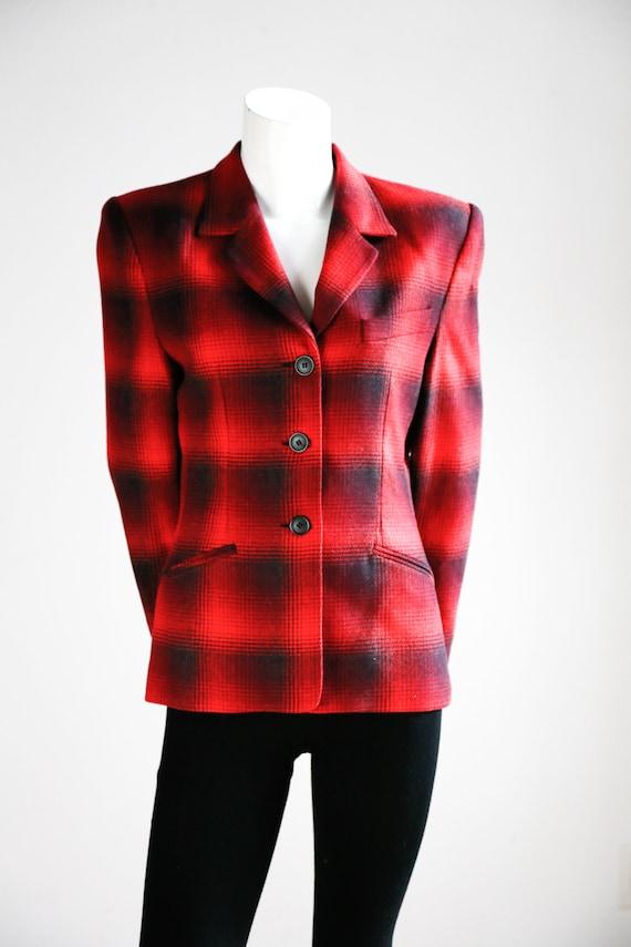 1990s Alfred Sung 3 Button Closure Blazer Classic Plaid Office Blazer Fitted Vintage Blazer Buffalo Plaid Fitted Wool Classic Blazer