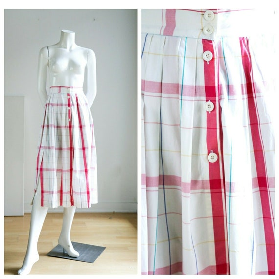 Vintage  Plaid Front Button up Closure Cotton Midi