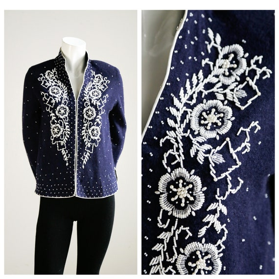 50's Floral Embroidered Beaded  Wool  Cardigan |Em