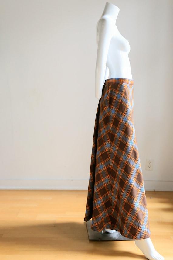 Plaid Wool A-line Maxi Skirt   Gold Plaid Skirt  … - image 7
