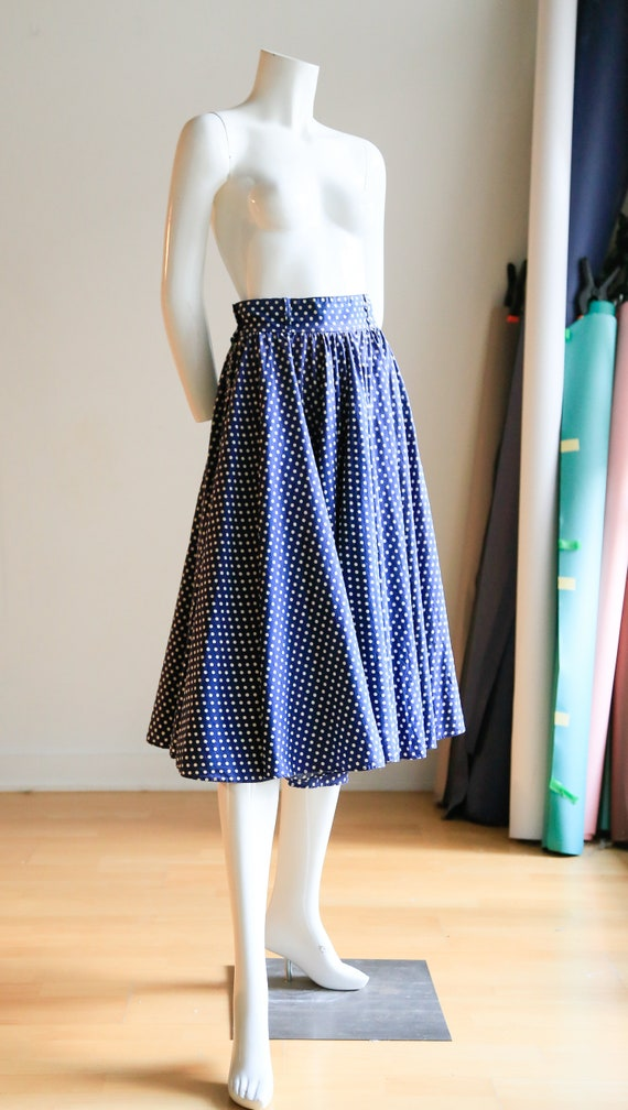 Blue White Polka Dot Circle Skirt |Pinup Rockabill