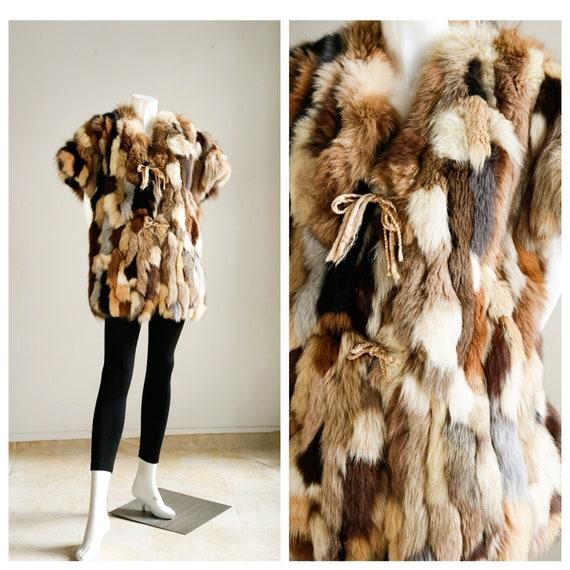 70s Vintage Patchwork Multicolour Fox Fur Vest | G