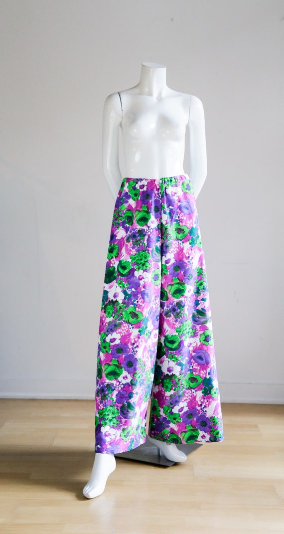 70s Wild Flower Power Purple and Bright Green Wid… - image 4