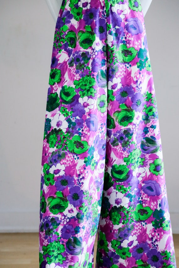 70s Wild Flower Power Purple and Bright Green Wid… - image 3