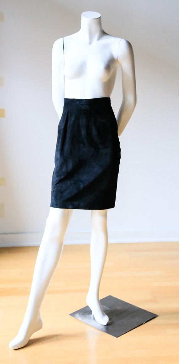 Black Suede Mini Pencil Skirt | Black Slim Fit Ski