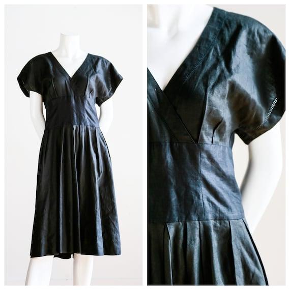 Black Linen Dress | Linen Minimalist Dress | Vinta