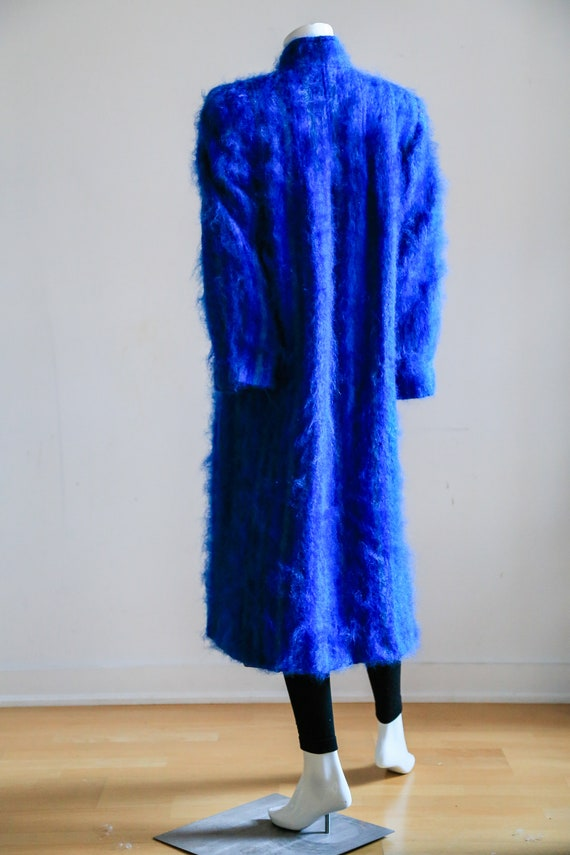 Blue Mohair Midi Coat | Wool Mohair Striped Coat … - image 7