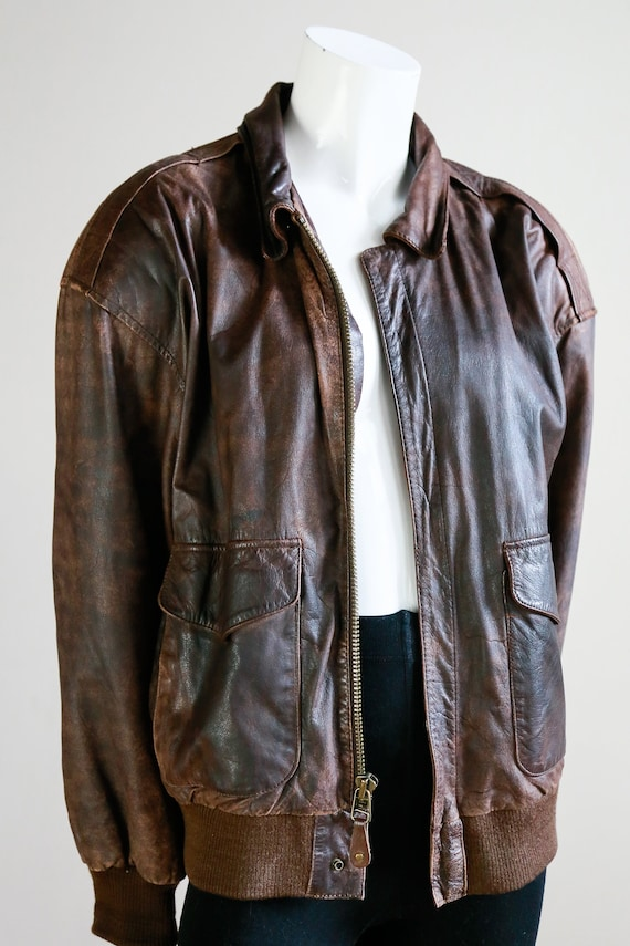 Leather Aviator Flight Jacket | Vintage Pilot Jac… - image 9