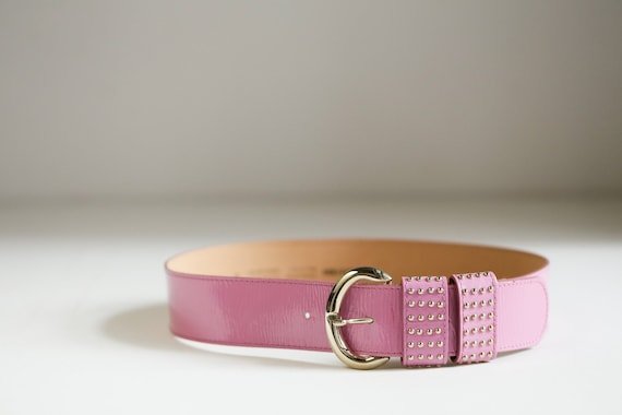 Vintage Dusty Pink Patent Leather Wide Belt w Stud