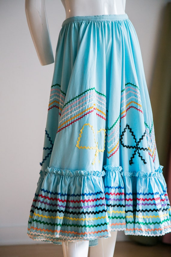 Mexican Circle Skirt | Folk Dancing Skirt  | Blue… - image 7