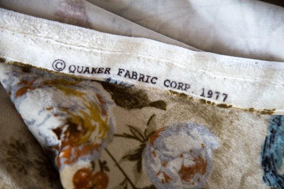 Floral 70s Upholstery Fabric Bird Motif Velvet Texture Fabric Screen Print Upholstery Fabric By Qauker Fabric Corp 1977 Garden Print