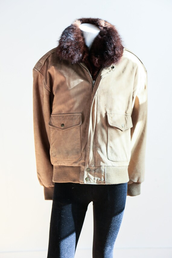 Fur Lined Leather Flight Jacket | Light Beige Bro… - image 4