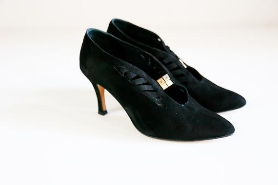 Black Suede Unique Decorative Slip on Booties | Un