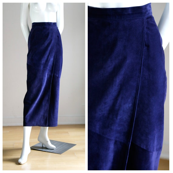 Ink Blue Purple Long Faux Wrap Suede Midi Skirt |