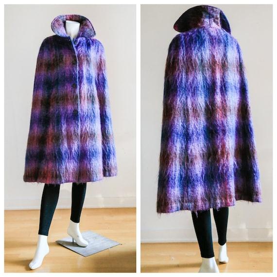 Plaid Wool Cape Coat | Vintage Plaid Mohair Wool C